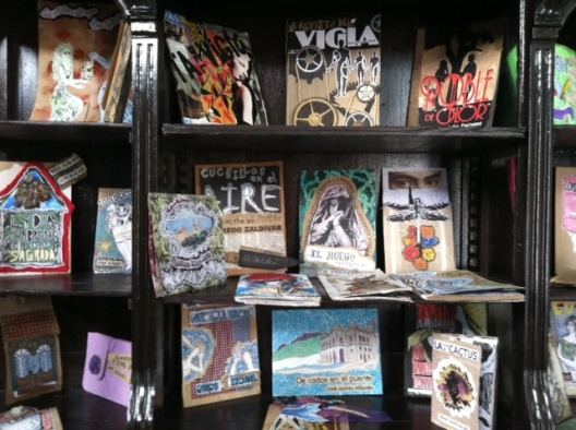 Shelves of hand-made books at the Ediciones Vigia
